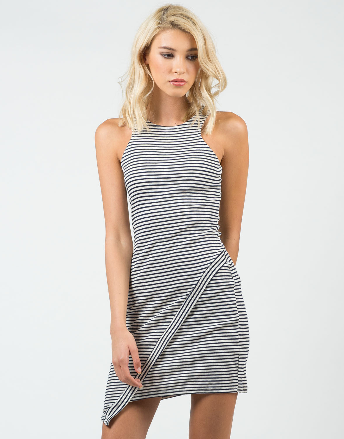 Front View of Striped Asymmetrical Dress