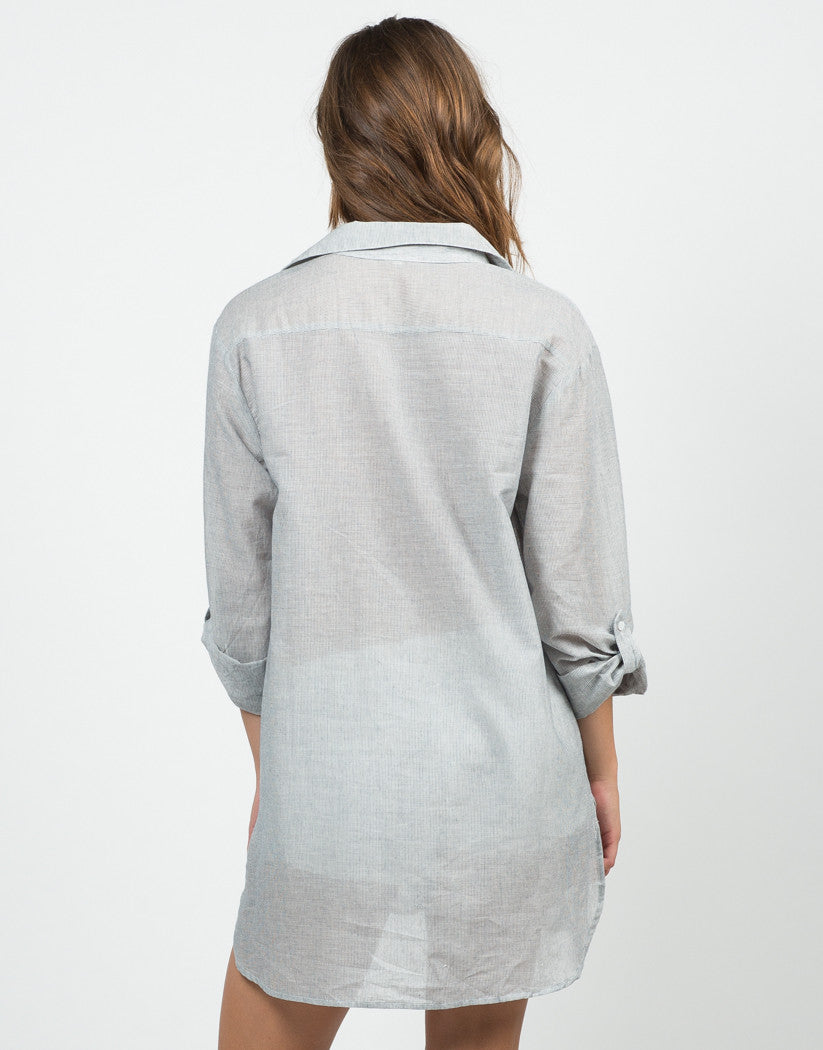 Back View of Striped Boyfriend Shirt Dress