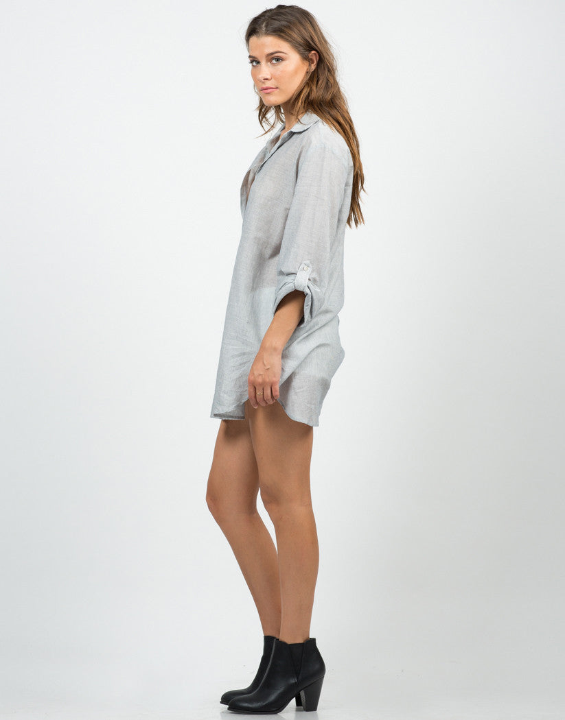 Side View of Striped Boyfriend Shirt Dress