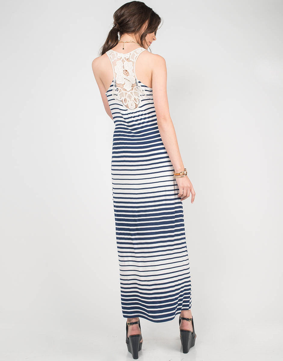 Back View of Striped Crochet Maxi Dress