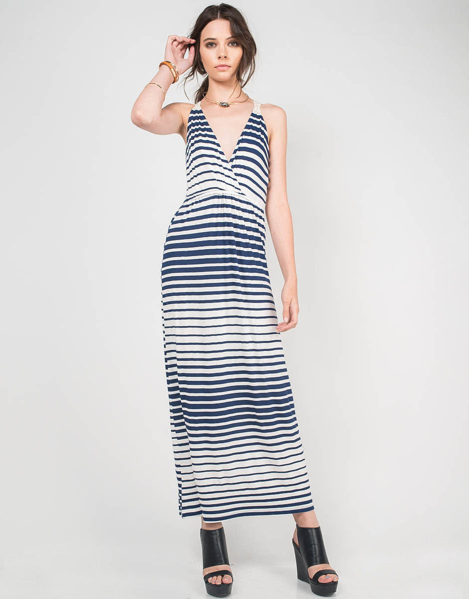 Front View of Striped Crochet Maxi Dress