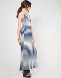 Side View of Striped Crochet Maxi Dress