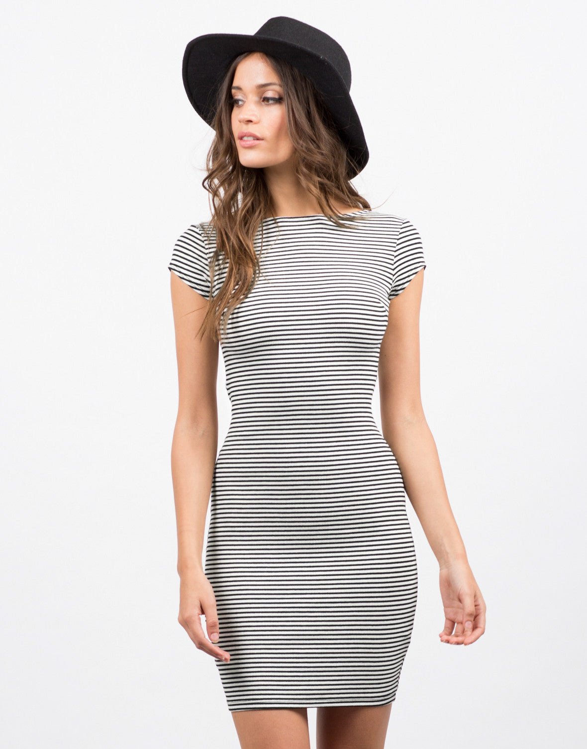Front View of Striped Cross Back Dress