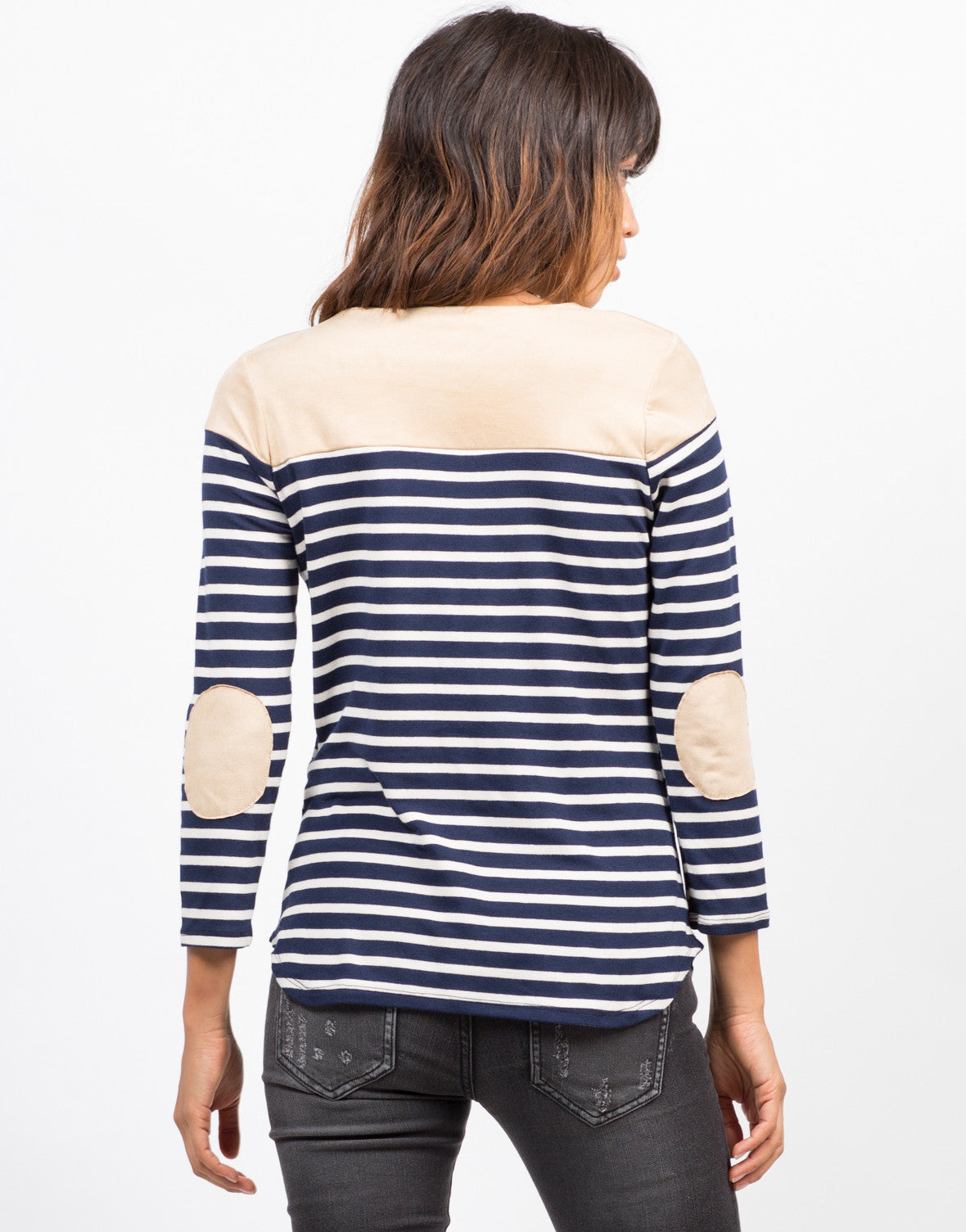 Back View of Striped Elbow Patch Top