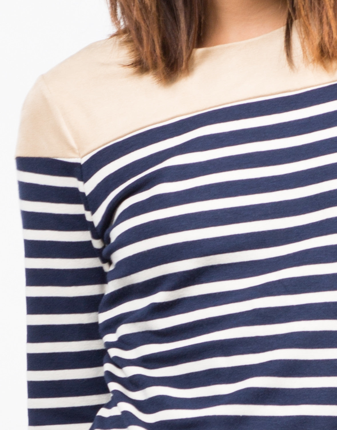 Detail of Striped Elbow Patch Top