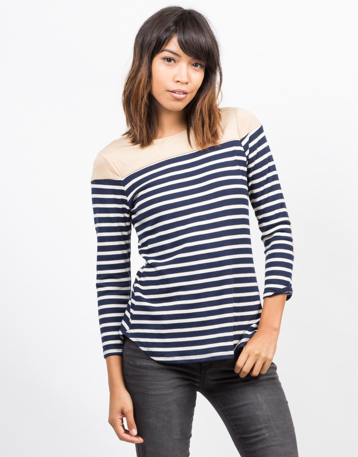 Front View of Striped Elbow Patch Top