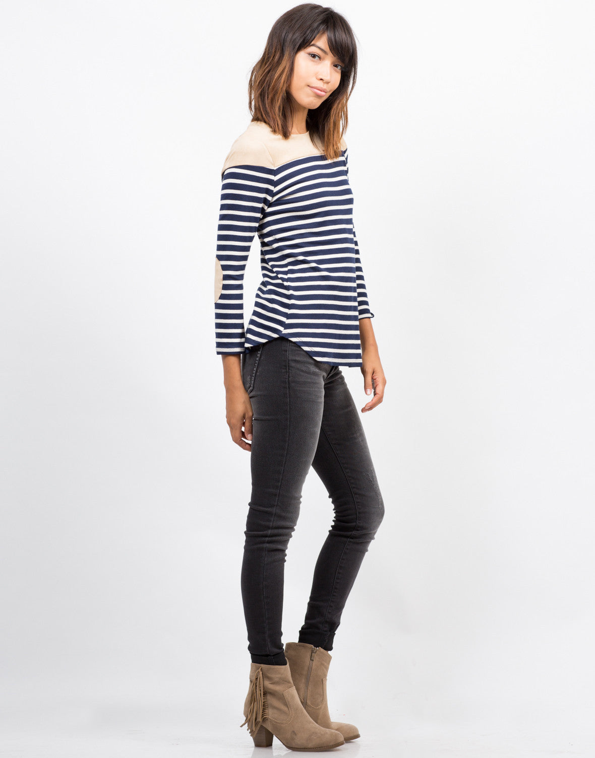 Side View of Striped Elbow Patch Top