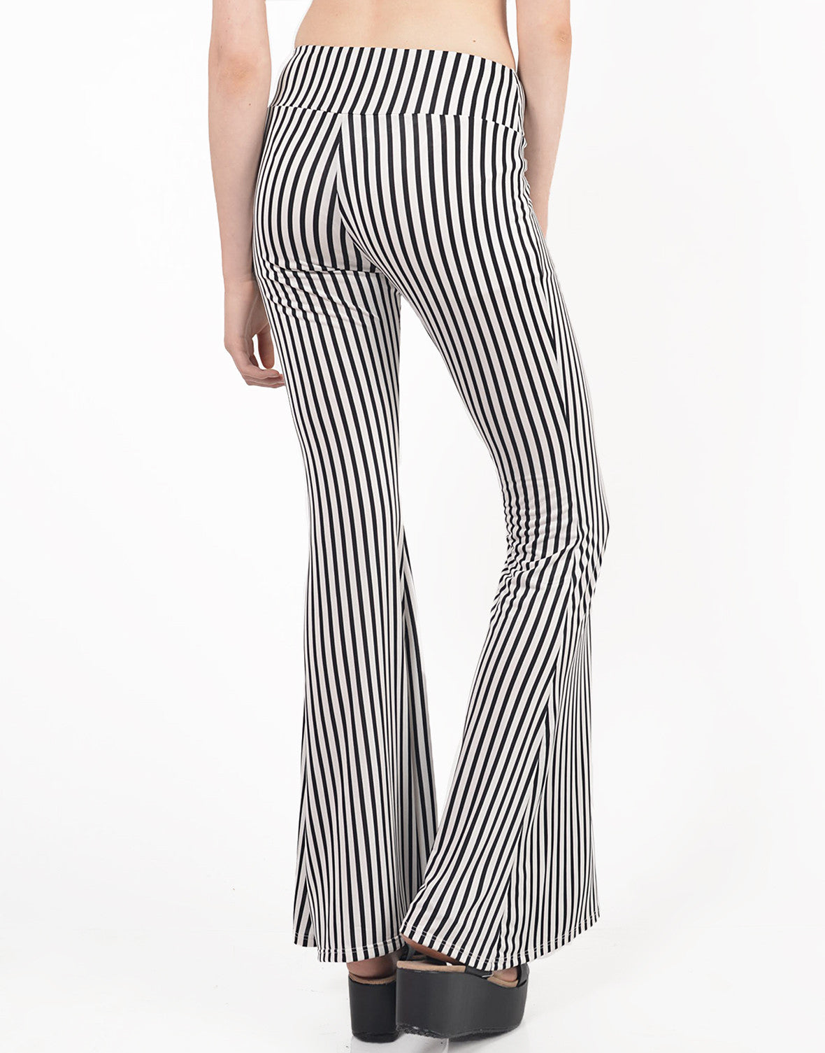 Back View of Striped Flare Pants