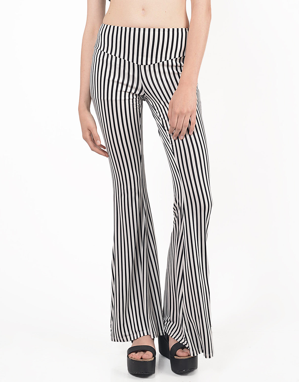 Detail of Striped Flare Pants
