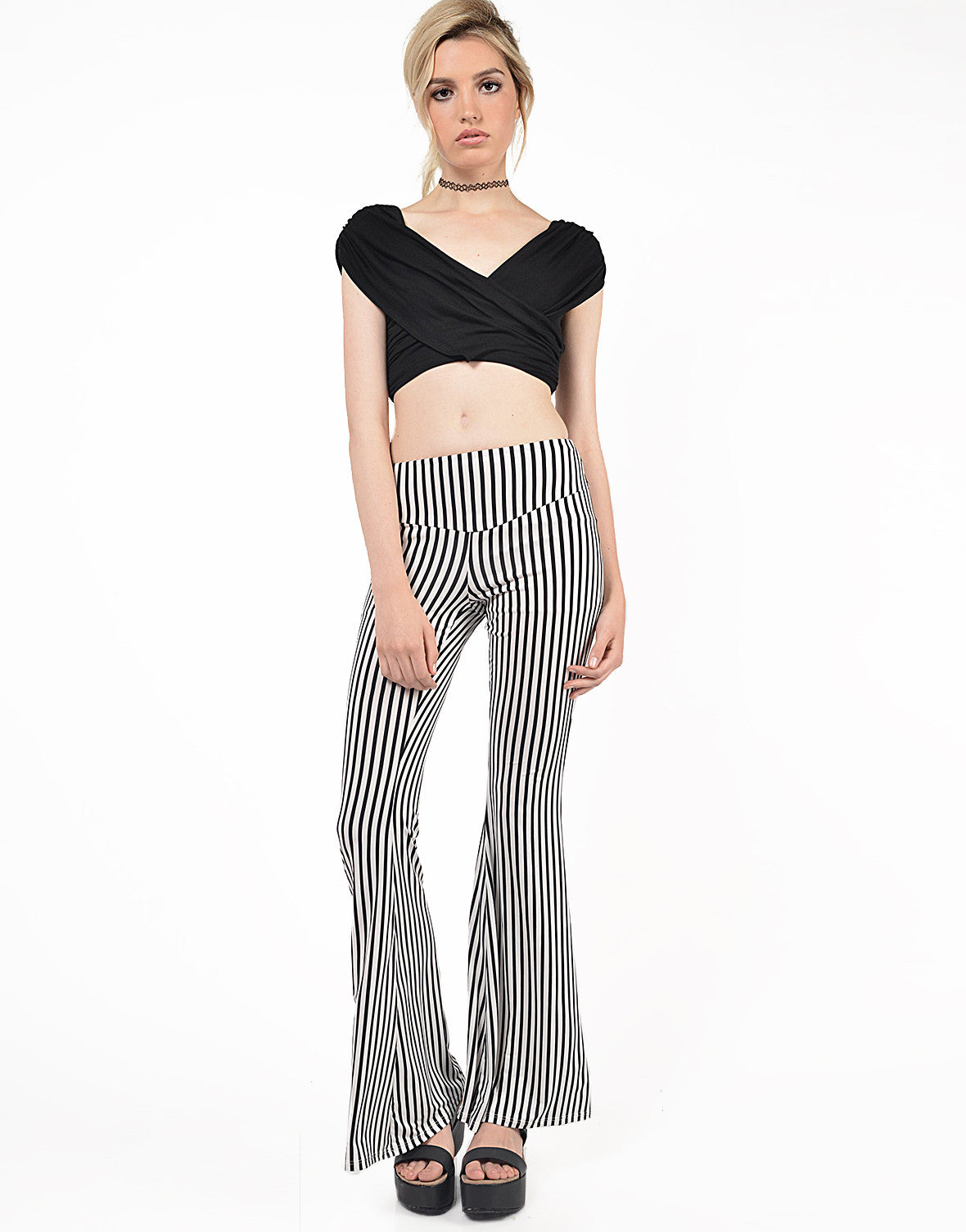 Front View of Striped Flare Pants