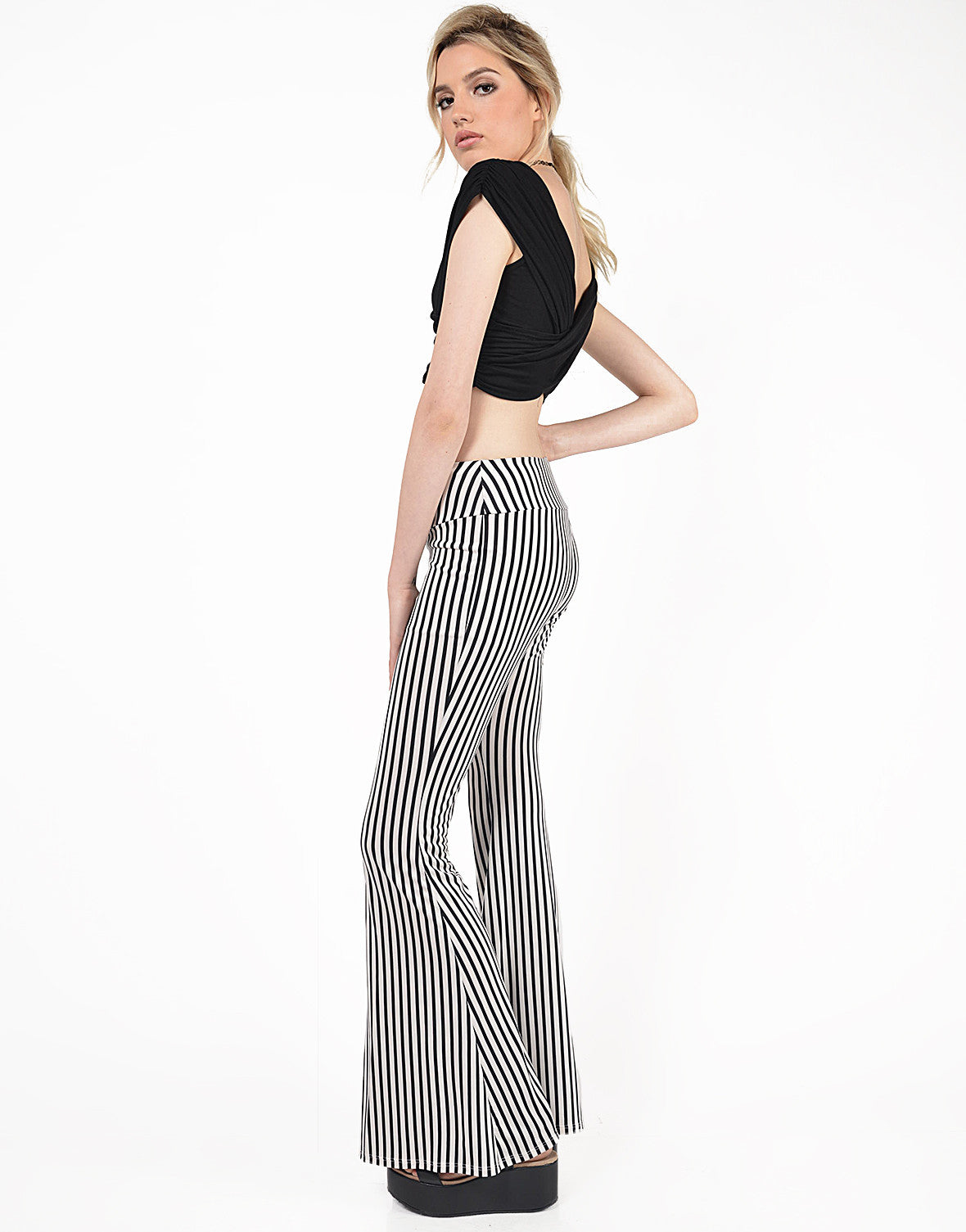 Side View of Striped Flare Pants