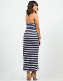 Back View of Striped Halter Maxi Dress