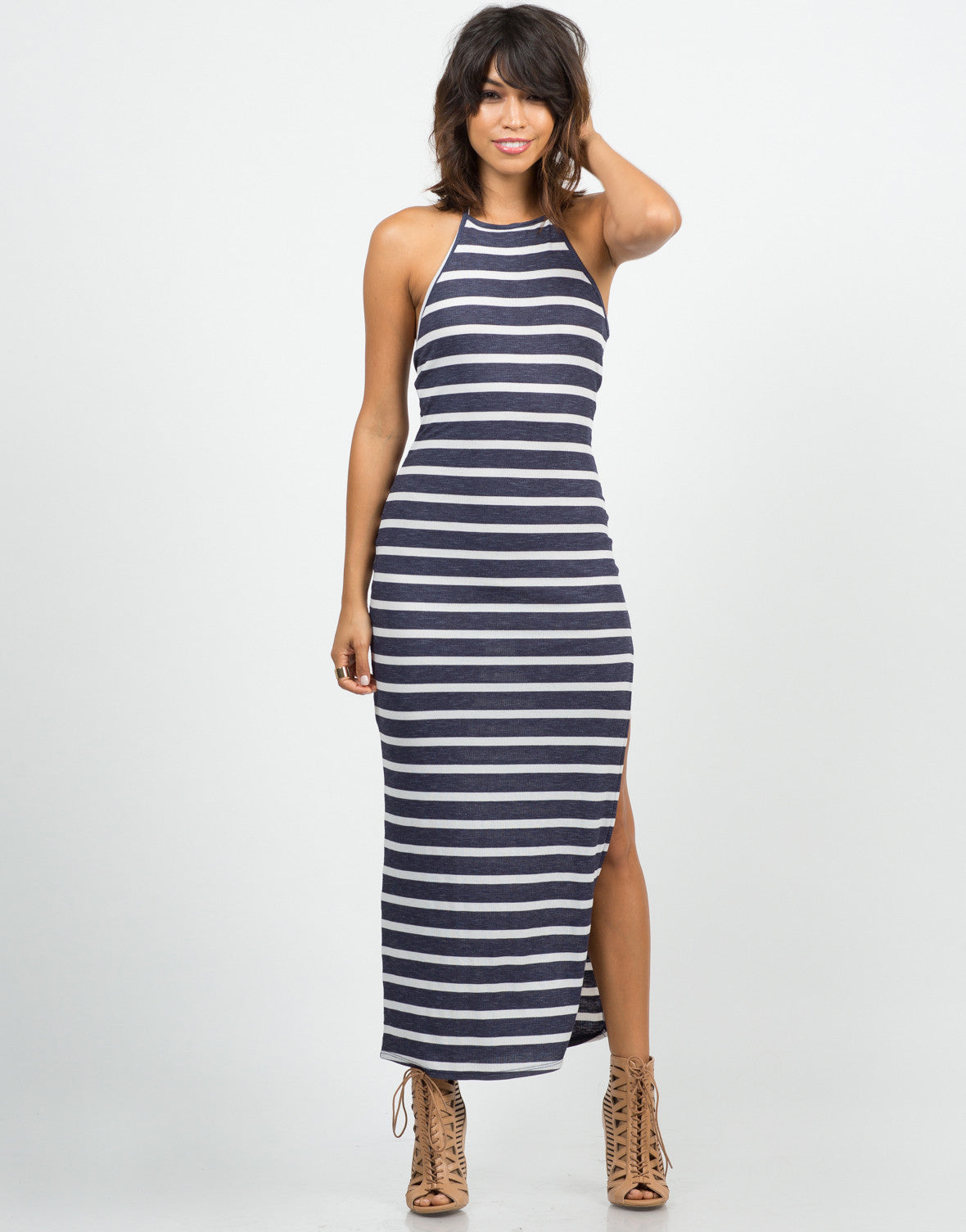 Front View of Striped Halter Maxi Dress