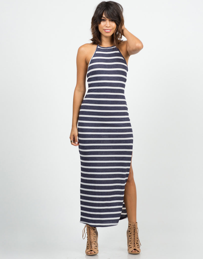 Striped Halter Maxi Dress - 2020AVE