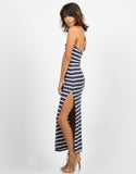 Side View of Striped Halter Maxi Dress