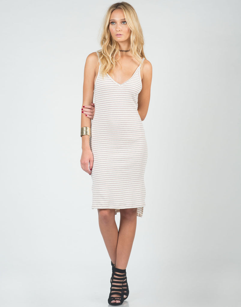 Striped Hi-Low Midi Dress - 2020AVE