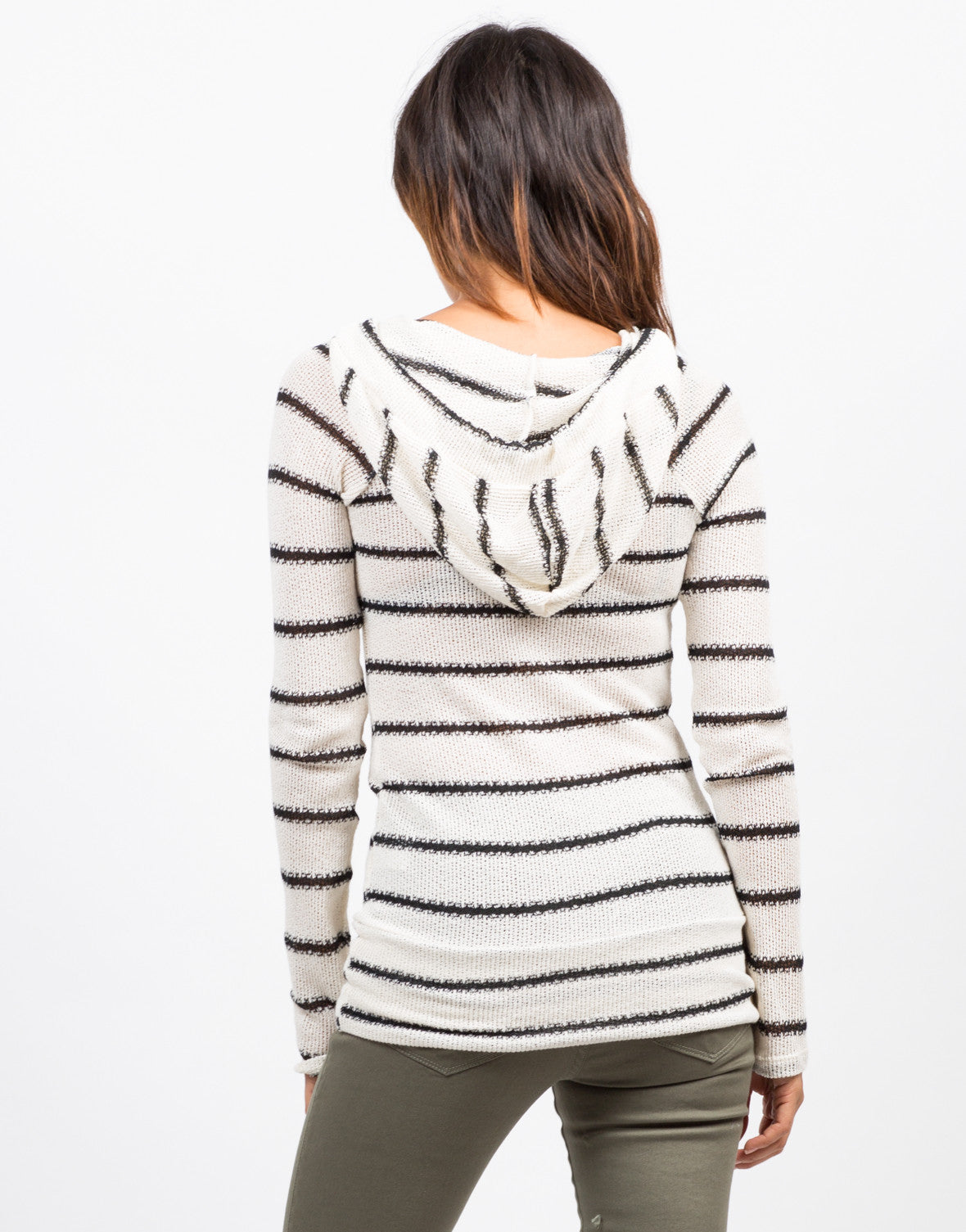 Back View of Striped Hoodie Sweater Top