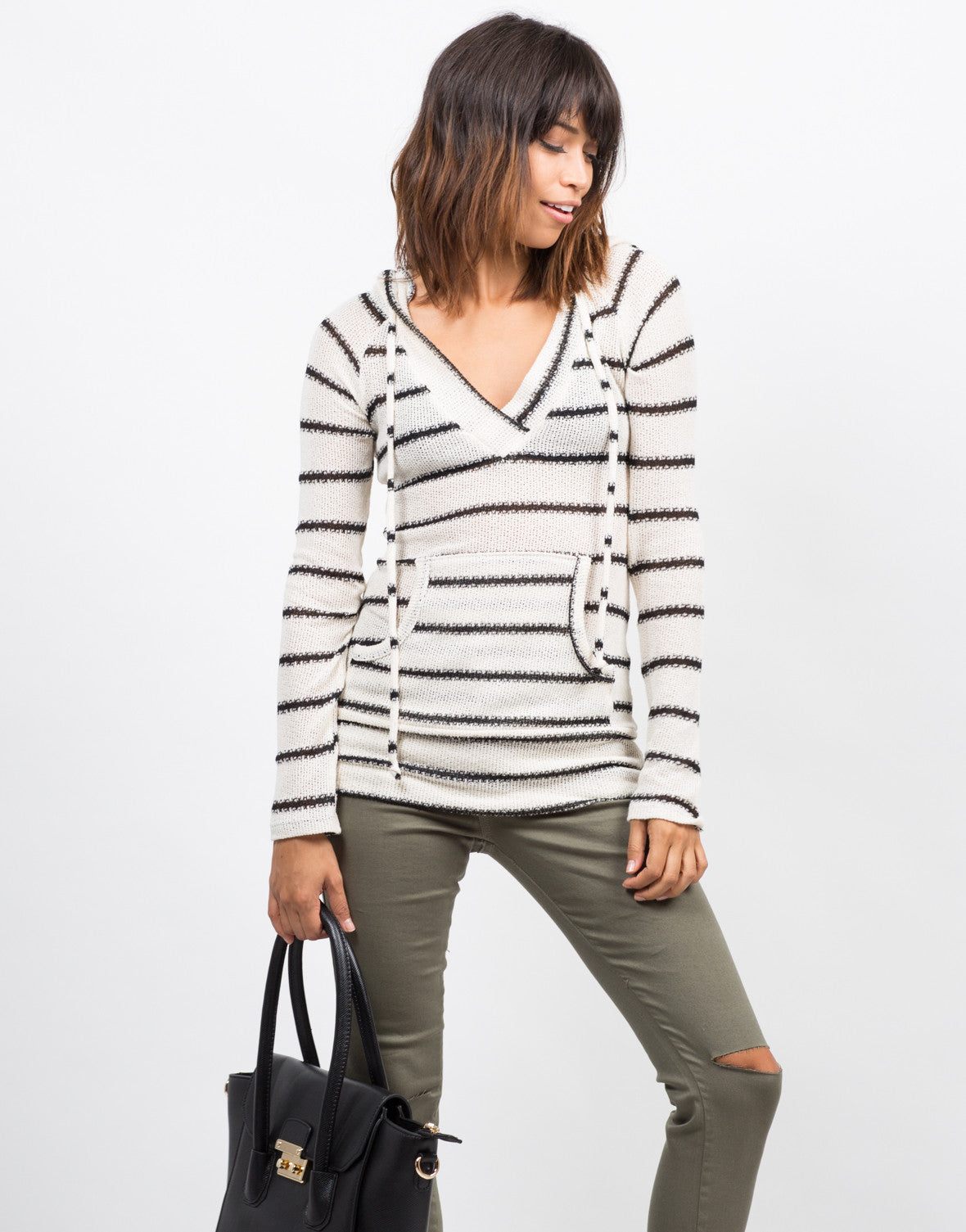 Front View of Striped Hoodie Sweater Top