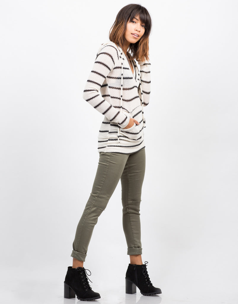 Striped Hoodie Sweater Top - 2020AVE
