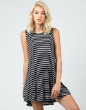 Front View of Striped Jersey A-Line Dress