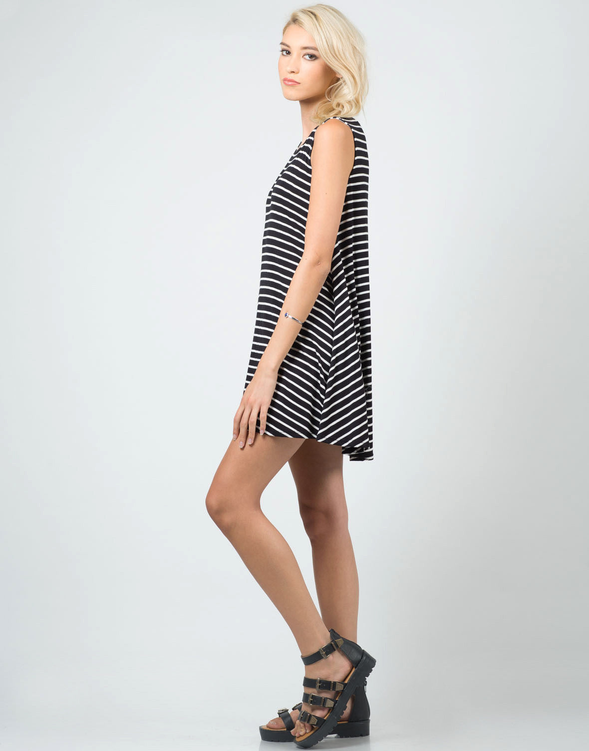 Side View of Striped Jersey A-Line Dress