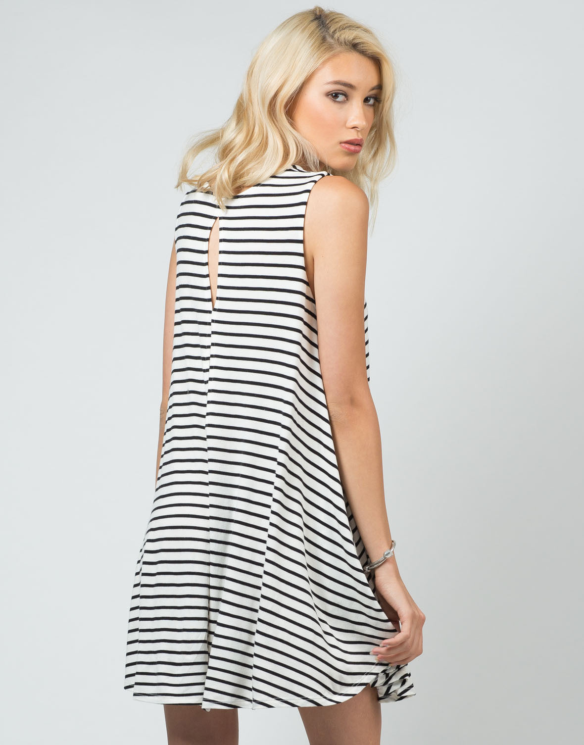 Back View of Striped Jersey A-Line Dress