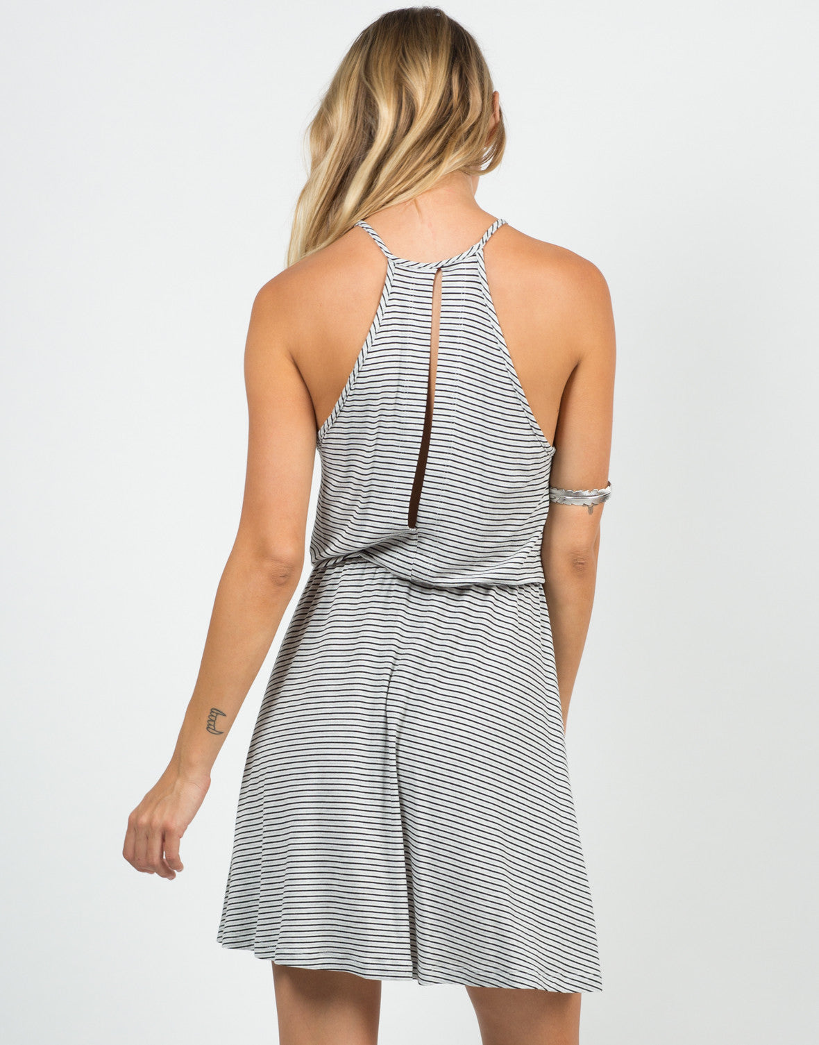 Back View of Striped Jersey Dress