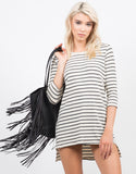 Front View of Striped Knit Dress