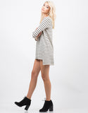 Side View of Striped Knit Dress