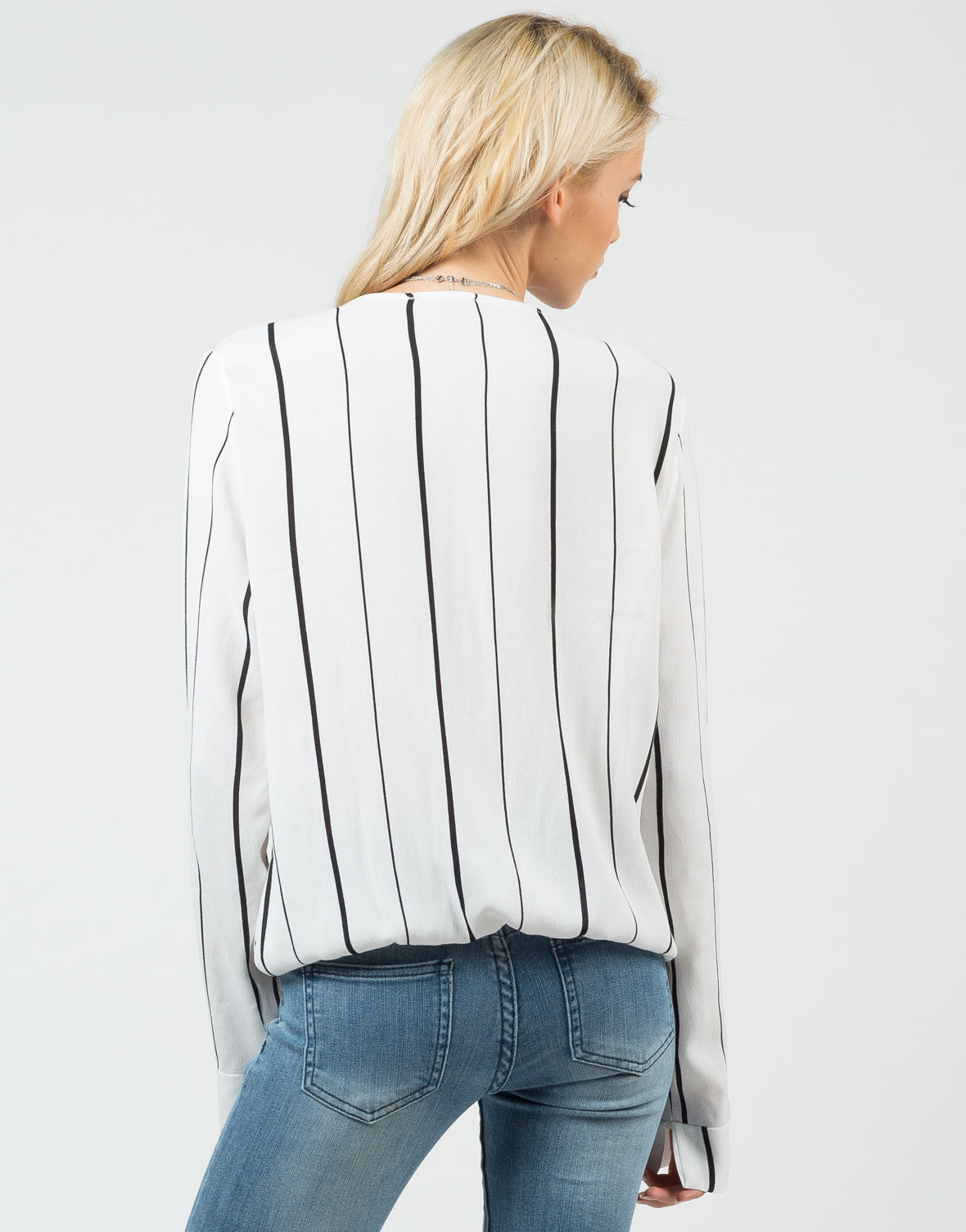 Back View of Striped Long Sleeve Blouse