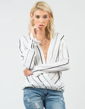 Front View of Striped Long Sleeve Blouse