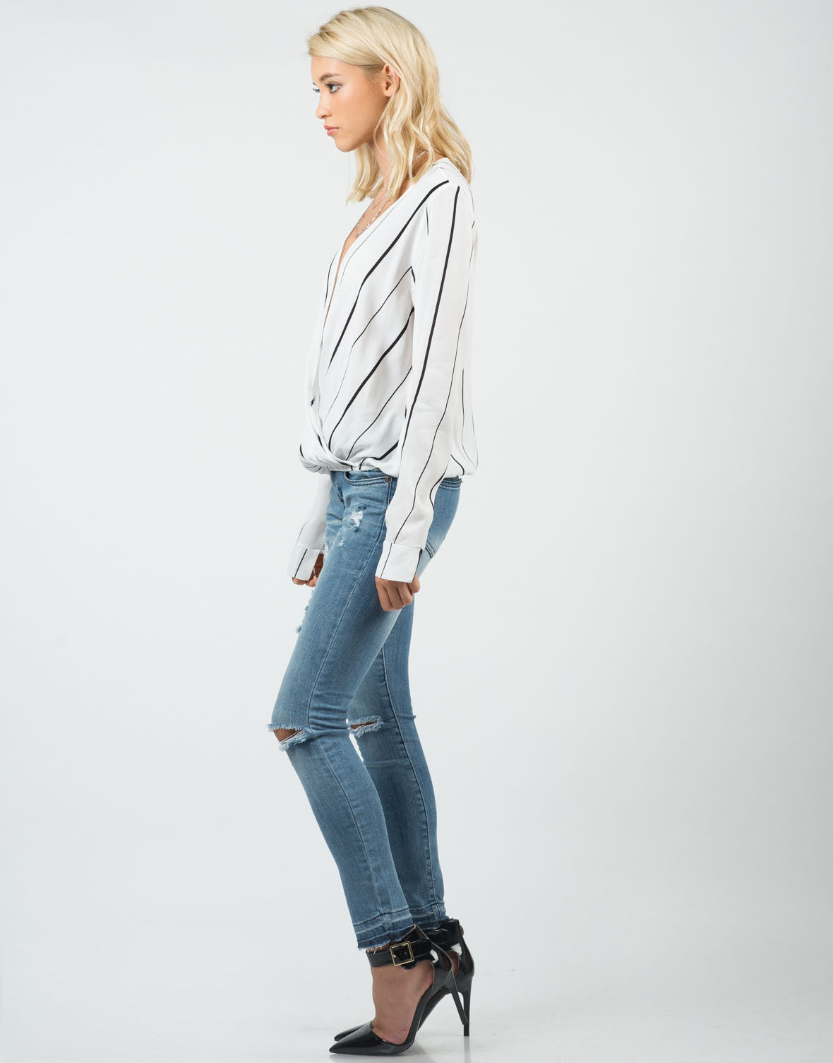 Side View of Striped Long Sleeve Blouse