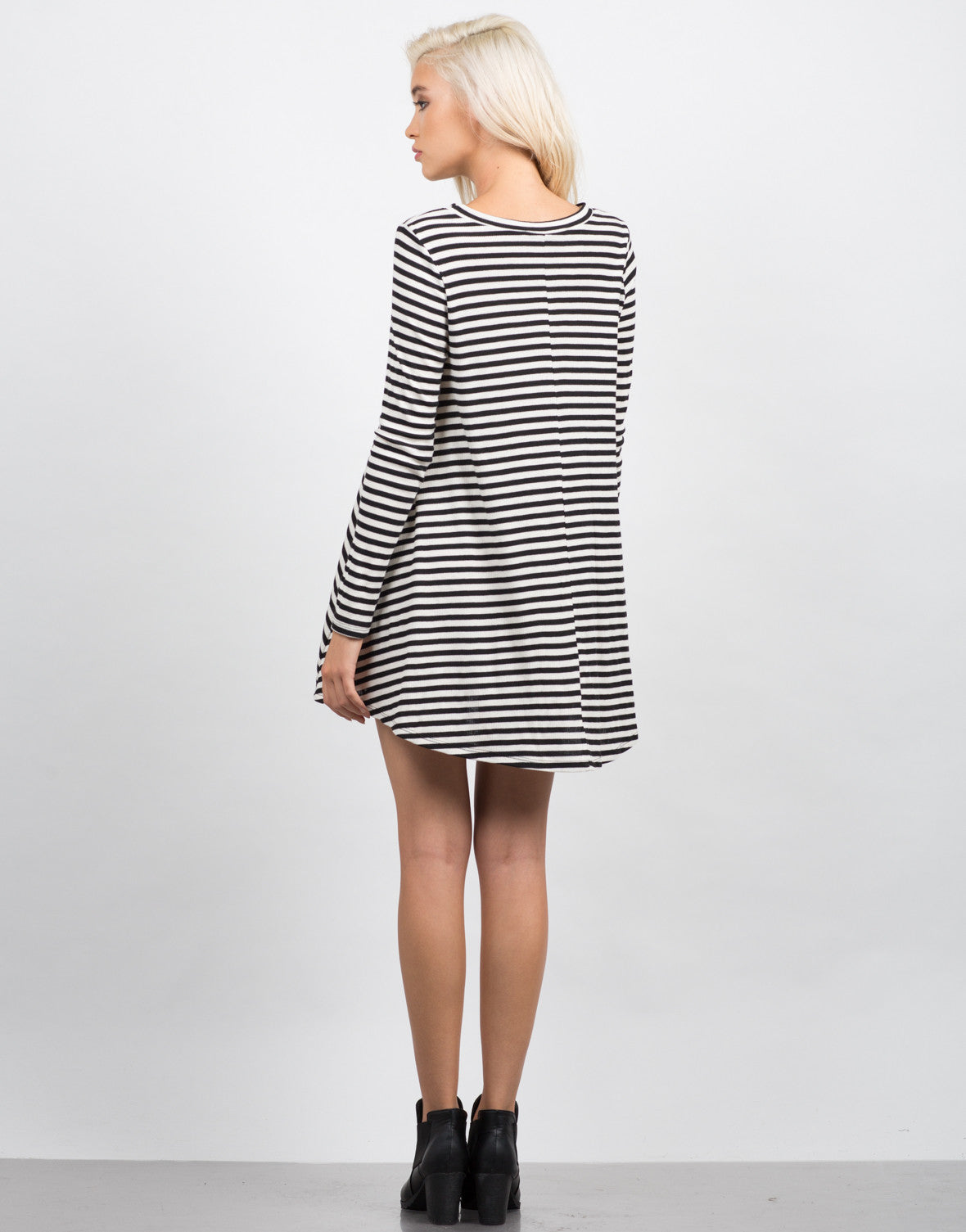 Back View of Striped Long Sleeve Flare Dress