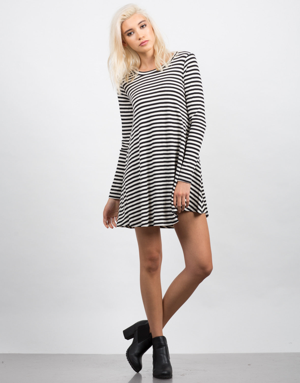 Front View of Striped Long Sleeve Flare Dress