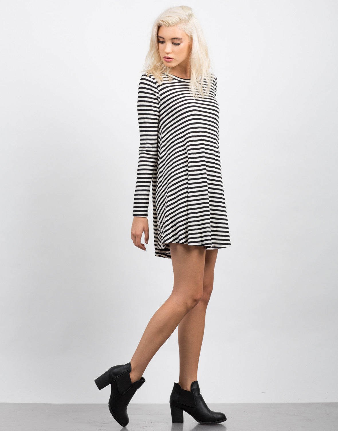 Side View of Striped Long Sleeve Flare Dress