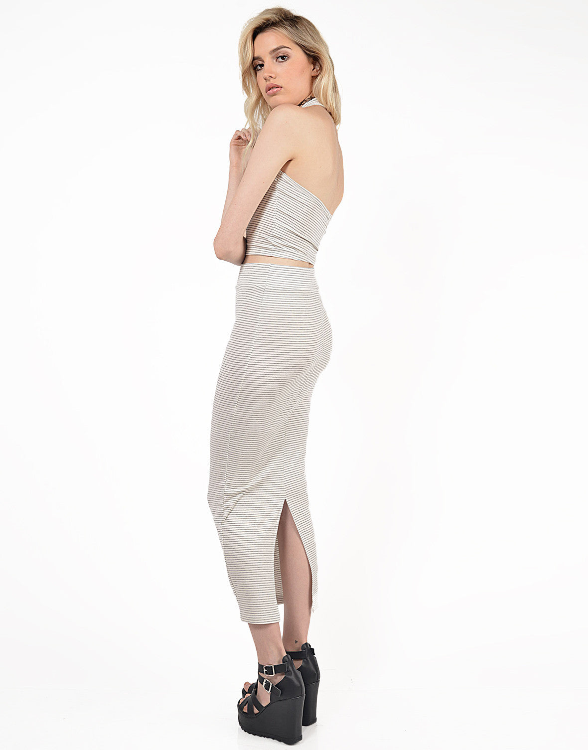 Side View of Striped Maxi Bodycon Skirt