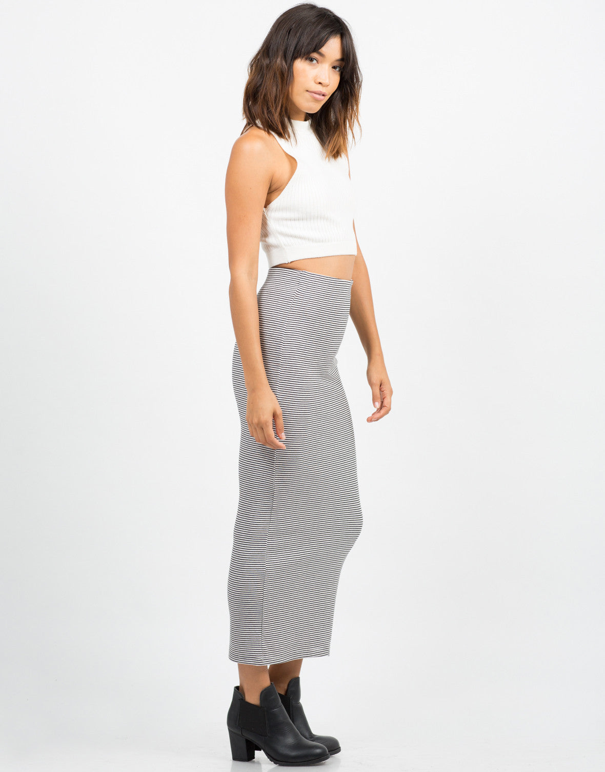 Side View of Striped Midi Skirt