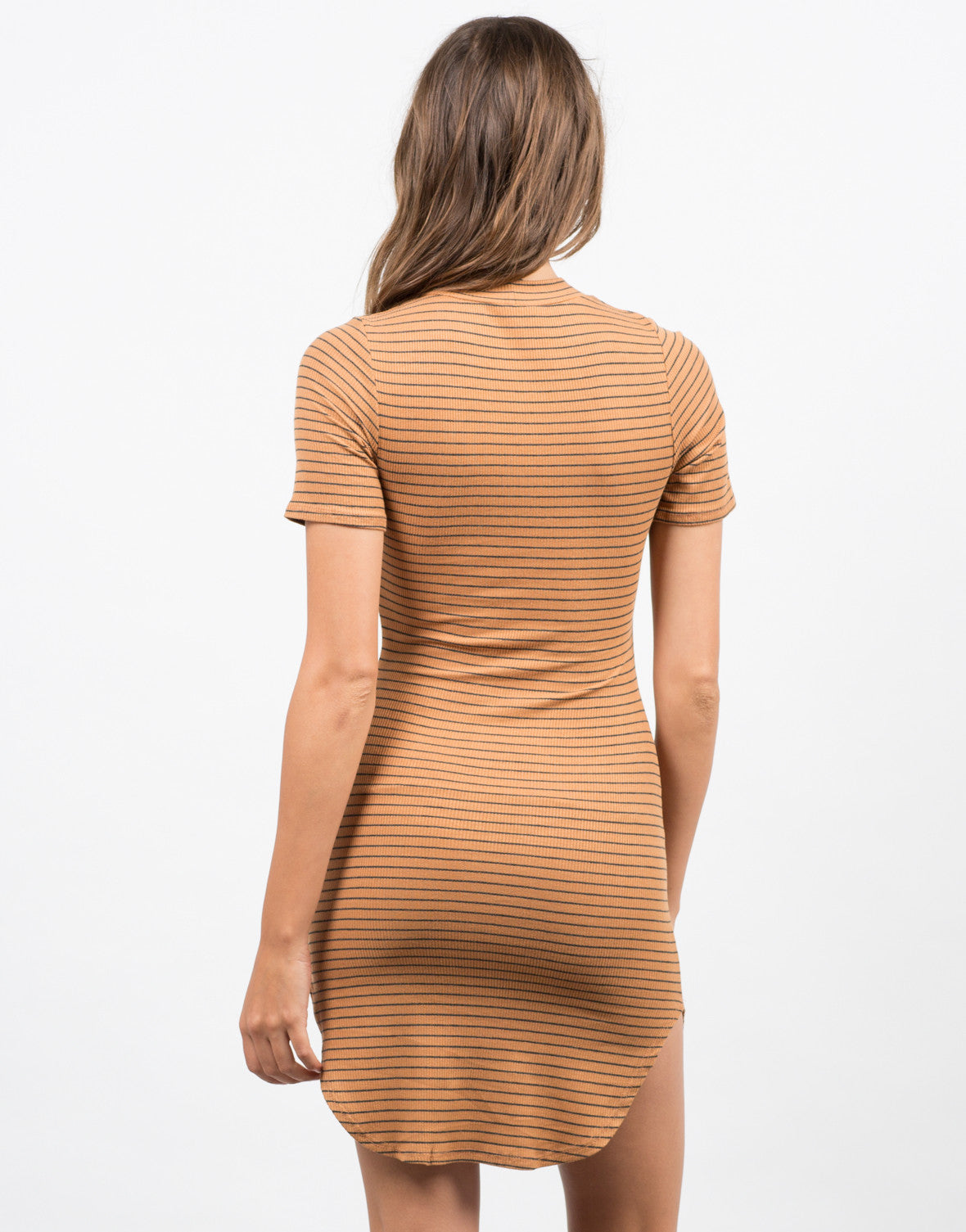 Back View of Striped Mock Neck Dress