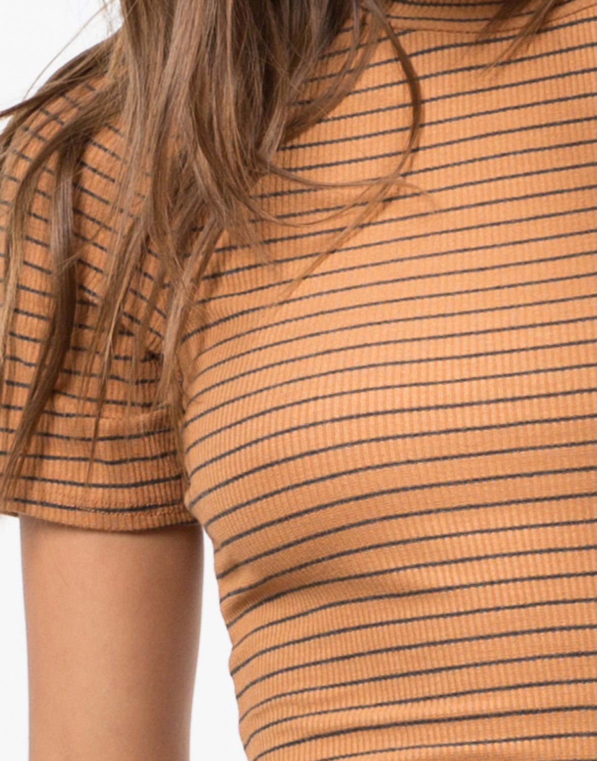 Detail of Striped Mock Neck Dress