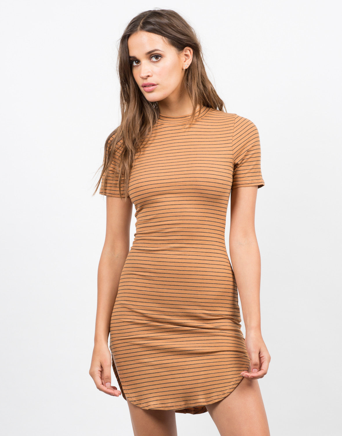 Front View of Striped Mock Neck Dress