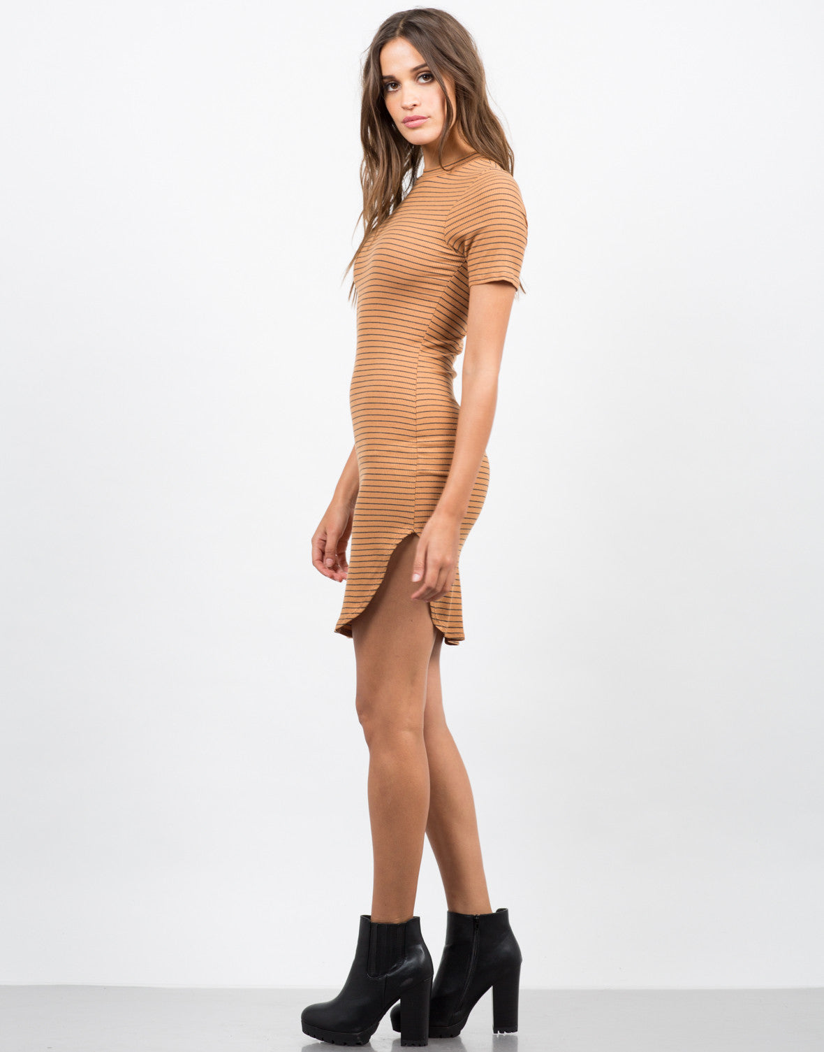 Side View of Striped Mock Neck Dress