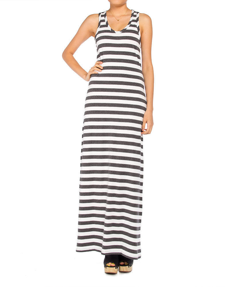 Striped Racerback Maxi Dress - Large