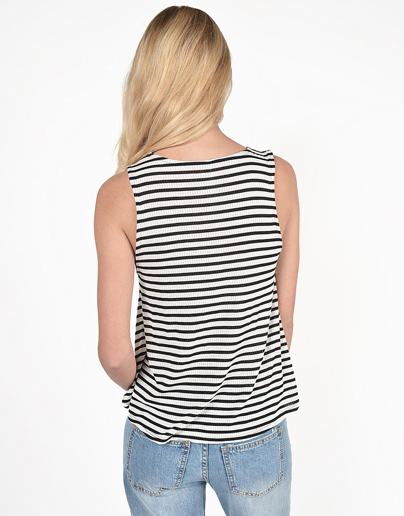 Striped Ribbed Flowy Tank - 2020AVE