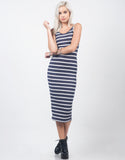 Front View of Striped Ribbed Midi Dress