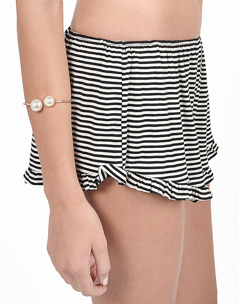 Striped Ruffle Shorts - 2020AVE