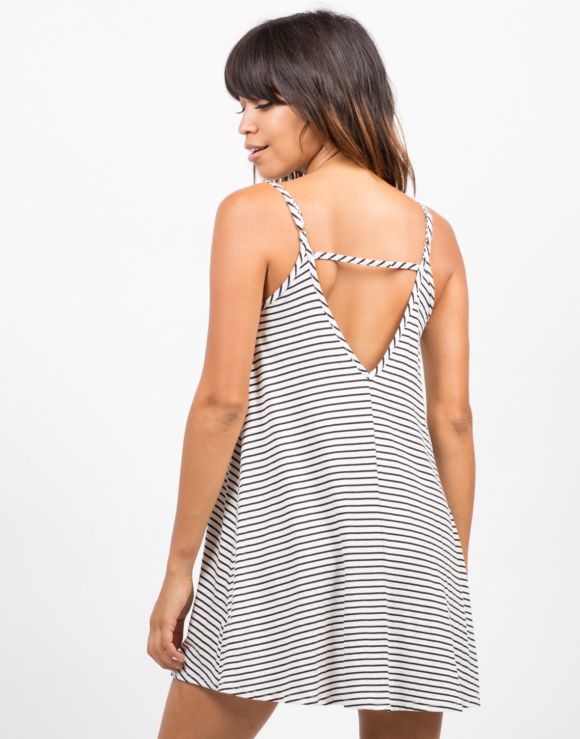 Back View of Striped Swing Cami Dress