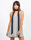 Front View of Striped Swing Cami Dress