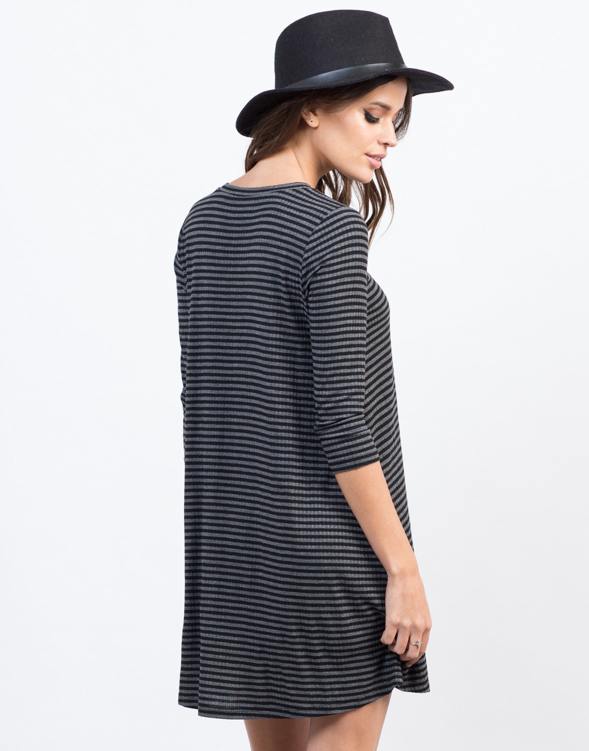Back View of Striped Swing Dress