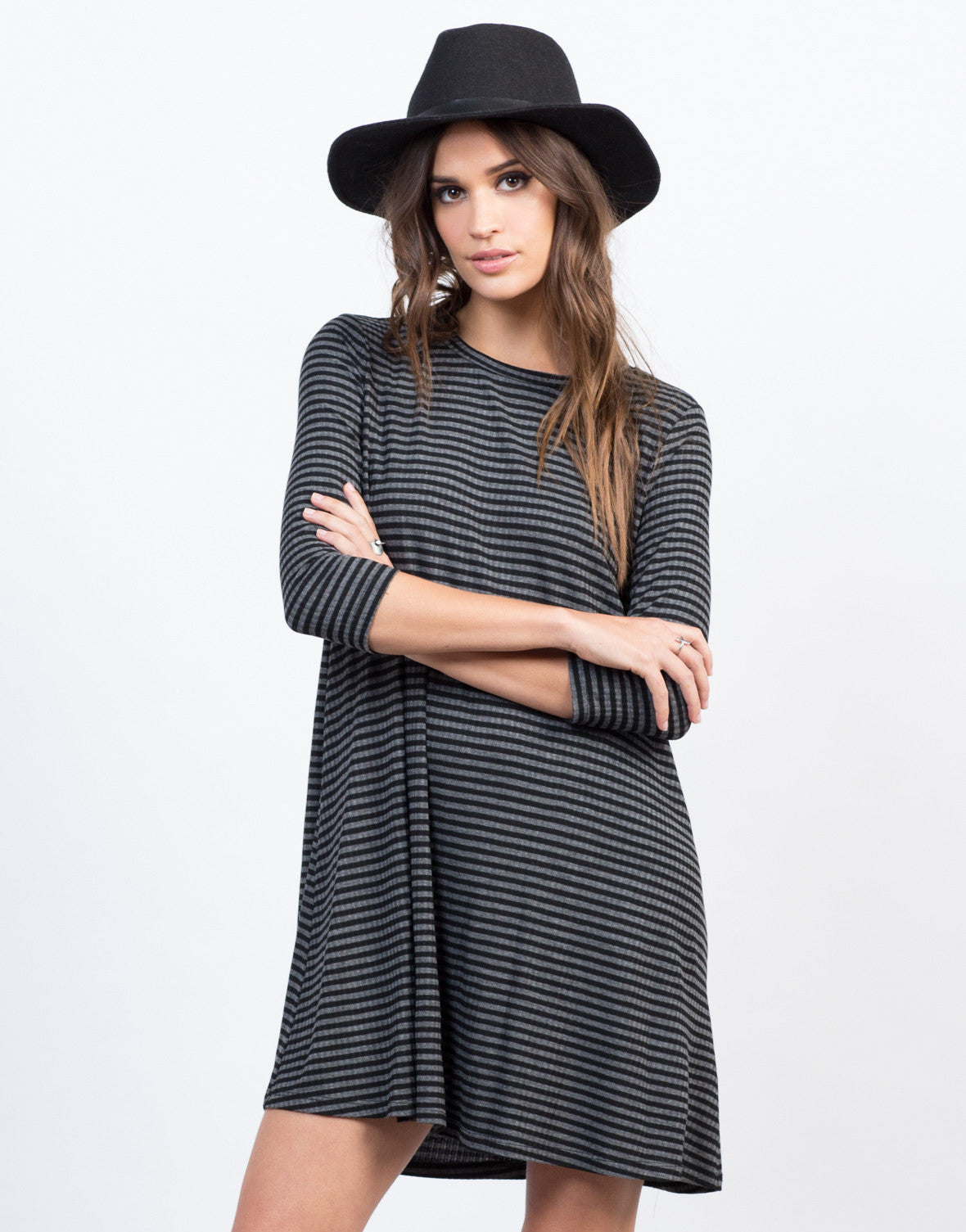 Front View of Striped Swing Dress