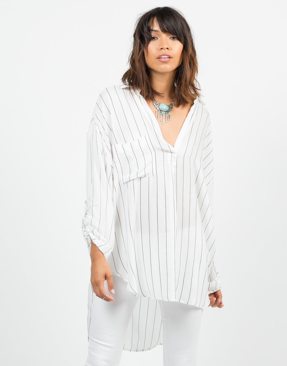 Front View of Striped Tunic Blouse